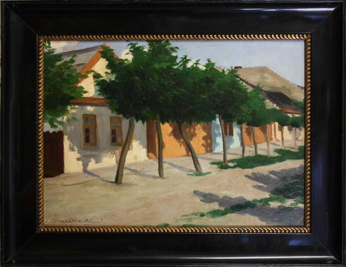 MACALIK Alfréd, Peisaj cu șir de case la Szolnok, 1917 [3]