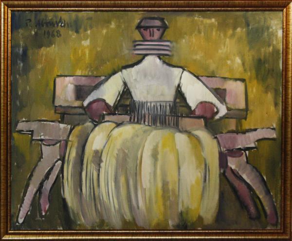 Petre ABRUDAN, Personaj în crinolină galbenă, 1968 4