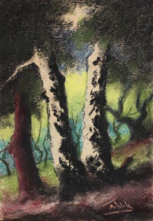 SZTELEK Norbert, Peisaj cu casă în pădure I Pădure [1]