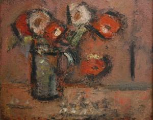 MADARASSY György Tamás, Natură statică cu flori albe și roșii, 19710