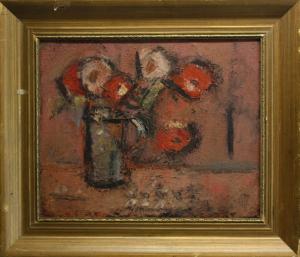 MADARASSY György Tamás, Natură statică cu flori albe și roșii, 19713