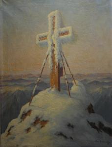 Josef DEDERICHS, Peisaj hibernal cu cruce0