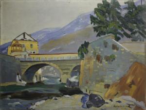 BARABÁS Márton Márkusfalvi, Peisaj cu pod, 19220