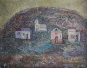 Gheorghe GHERMAN, Peisaj cu deal, biserică și case0