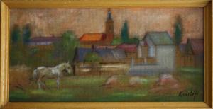 KRISTÓFI János, Peisaj rural cu biserică3