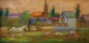 KRISTÓFI János, Peisaj rural cu biserică0