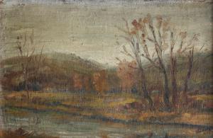 RODAN Yehuda, Peisaj cu râu, 19550