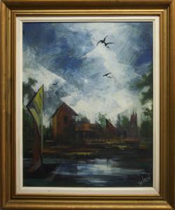BIRÓ I. Géza, Peisaj cu vilă și păsări4