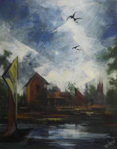 BIRÓ I. Géza, Peisaj cu vilă și păsări0