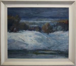 BARABÁS István, Peisaj de iarnă cu copaci3