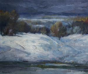 BARABÁS István, Peisaj de iarnă cu copaci0