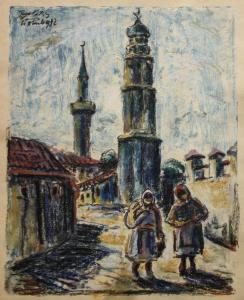 BALÁZS G. Árpád, Peisaj citadin cu țărănci, 1932 [0]