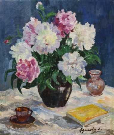 Lidia AGRICOLA, Still Life with Flowers and Book [0]