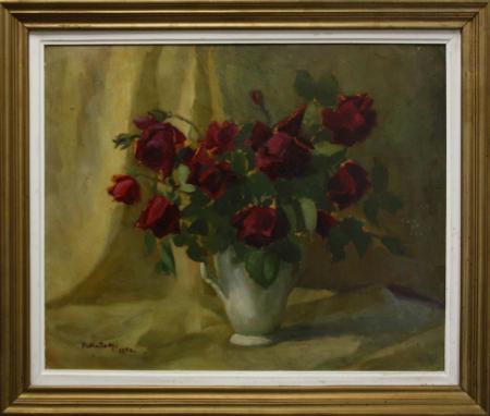 FEKETE Margit, Natură statică cu trandafiri roșii, 1954 [3]
