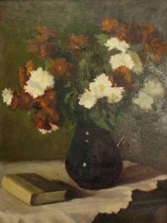 FEKETE Margit, Aranjament floral cu carte, 1950 [0]