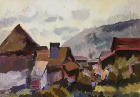 BALLA József, Peisaj cu case la Lăzarea, 1983 [0]