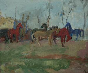Traian GOGA, Peisaj cu cai, 19760