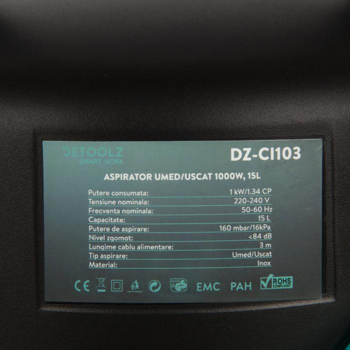Aspirator uscat si umed Detoolz 1000W, 15L 4