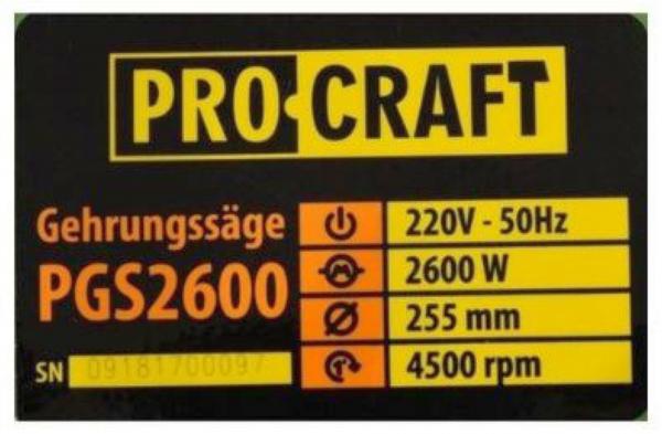 FIERASTRAU ELECTRIC CIRCULAR 2600W, 4500RPM, PROCRAFT PGS2600 2