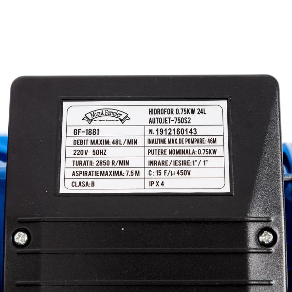 Hidrofor Micul fermier  autoamorsare 0,75KW 24L AUTOJET-750S2 3