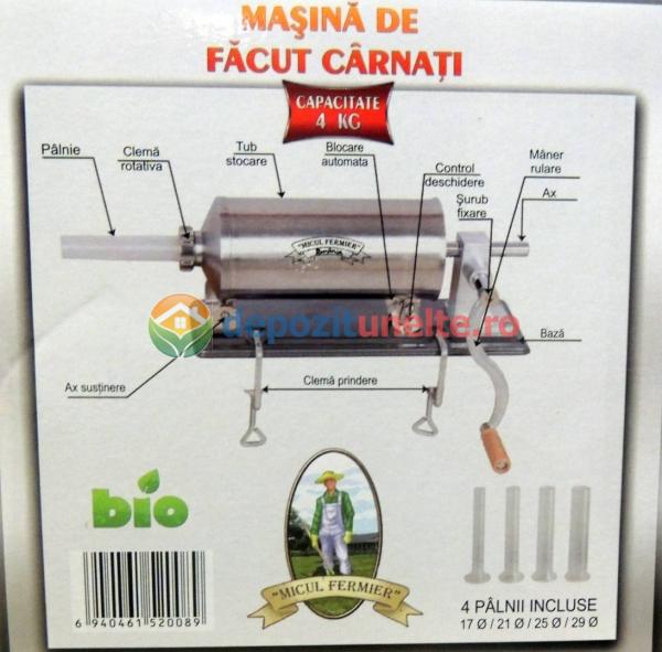Masina de umplut carnati 4kg Micul Fermier - Orizontal 3