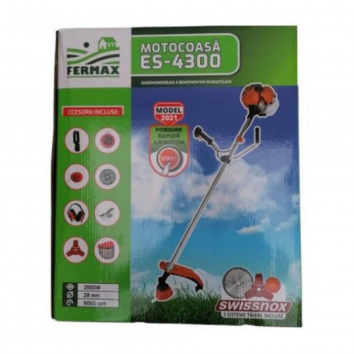 Motocositoare pe benzina Fermax ES-4300, cu pornire electrica si manuala, 4.7 CP, 9000 rpm, 8 accesorii incluse [2]