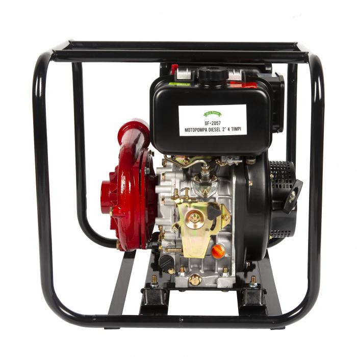 Motopompa diesel de presiune, putere 7 CP, Diesel, absortie/refulare 2''/2'' (50 mm) , pornire la sfoara,motor in 4 timpi, presiune 6 bari 4