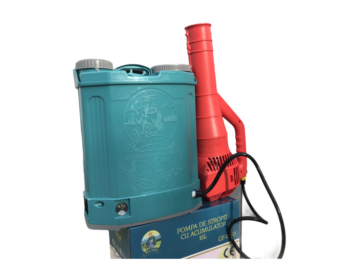 Pachet Protectia plantelor - Pompa de stropit electrica cu acumulator Pandora 16 Litri -12V 8Ah cu regulator de presiune + Atomizor electric portabil ELEFANT cu spatiu montaj acumulator ( suflanta [5]