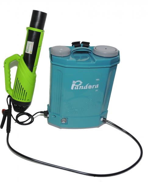 Pachet Protectia plantelor -  Pompa de stropit electrica cu acumulator Pandora 16 Litri -12V 8Ah cu regulator de presiune  + Atomizor electric portabil ( suflanta cu pulverizare) 1