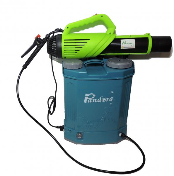 Pachet Protectia plantelor -  Pompa de stropit electrica cu acumulator Pandora 16 Litri -12V 8Ah cu regulator de presiune  + Atomizor electric portabil ( suflanta cu pulverizare) 2