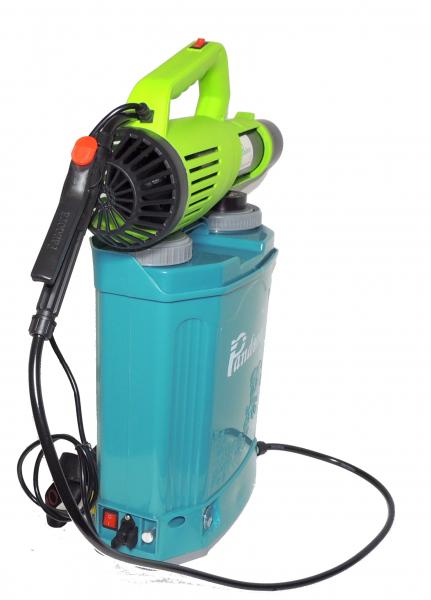 Pachet Protectia plantelor -  Pompa de stropit electrica cu acumulator Pandora 20 Litri -12V 8Ah cu regulator de presiune  + Atomizor electric portabil ( suflanta cu pulverizare) 3