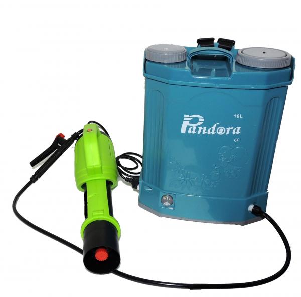 Pachet Protectia plantelor -  Pompa de stropit electrica cu acumulator Pandora 16 Litri -12V 8Ah cu regulator de presiune  + Atomizor electric portabil ( suflanta cu pulverizare) 0