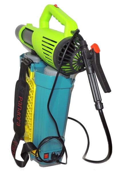 Pachet Protectia plantelor -  Pompa de stropit electrica cu acumulator Pandora 20 Litri -12V 8Ah cu regulator de presiune  + Atomizor electric portabil ( suflanta cu pulverizare) 4