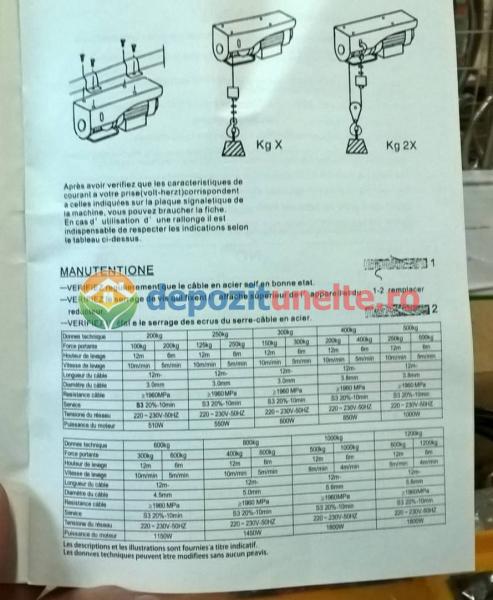 PALAN ELECTRIC 200 KG ( Macara / Lift cu cablu de otel, troliu) PA 200 6