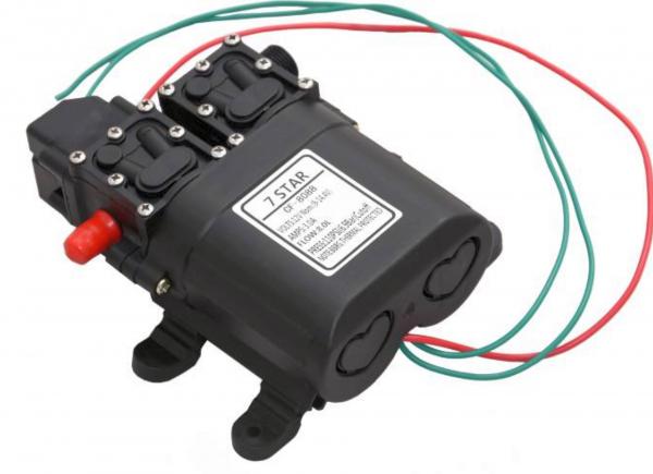 Pompa de apa cu presostat incorporat, autoamorsata, avand un corp dublu, alimentata la 12V cc, 3A  cu un debit de 8 litri / minut; Putere de 6.9bar (110PSI) 6