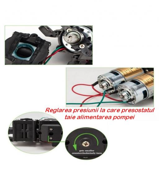 Pompa de apa cu presostat incorporat, autoamorsata, avand un corp dublu, alimentata la 12V cc, 3A  cu un debit de 8 litri / minut; Putere de 6.9bar (110PSI) 7