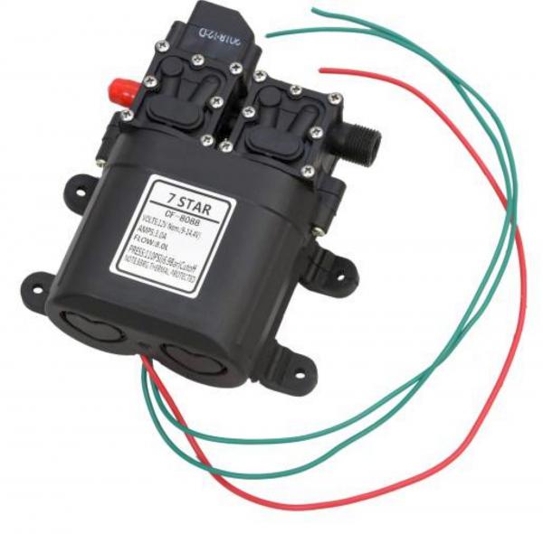 Pompa de apa cu presostat incorporat, autoamorsata, avand un corp dublu, alimentata la 12V cc, 3A  cu un debit de 8 litri / minut; Putere de 6.9bar (110PSI) 5