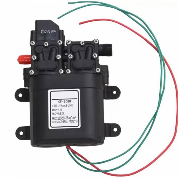 Pompa de apa cu presostat incorporat, autoamorsata, avand un corp dublu, alimentata la 12V cc, 3A  cu un debit de 8 litri / minut; Putere de 6.9bar (110PSI) 0