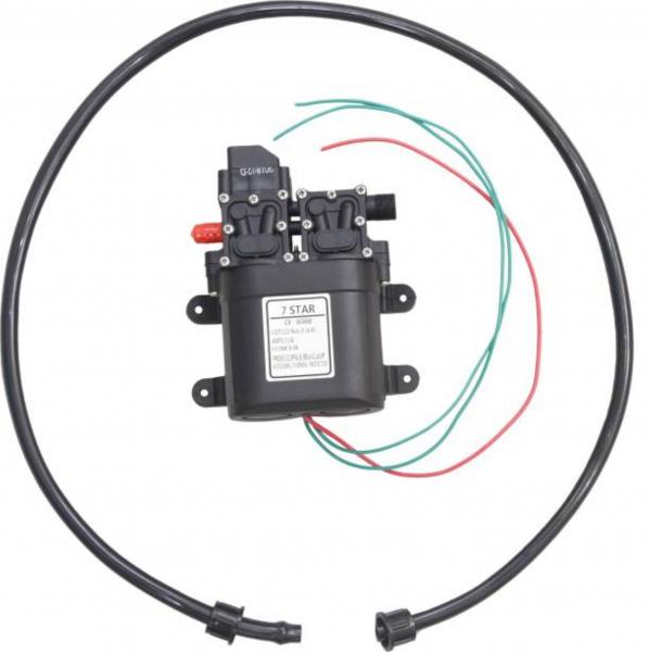 Pompa de apa cu presostat incorporat, autoamorsata, avand un corp dublu, alimentata la 12V cc, 3A  cu un debit de 8 litri / minut; Putere de 6.9bar (110PSI) 4