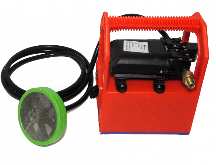 Pompa de stropit cu presiune cu doua motoare 12Vdc alimentata cu acumulator 12Ah - Pandora , presiune 5,5-6,9 bar  cu cadru PORTABIL cu maner Grandepo 0