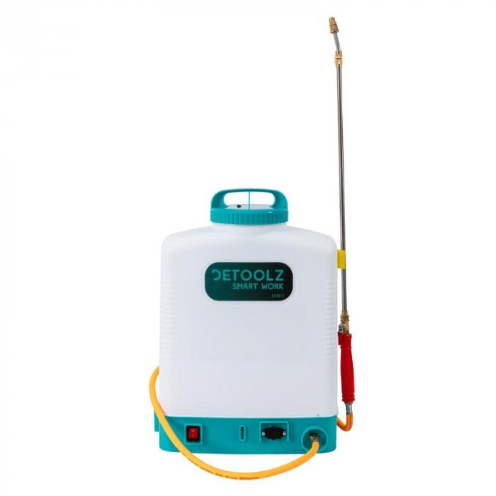 Pompa de stropit electrica cu acumulator 12V 8 Ah - 5,5 bari  suport lombar, 16 Litri  DETOOLZ cu FURTUN de PRESIUNE  DZ-P110 [0]