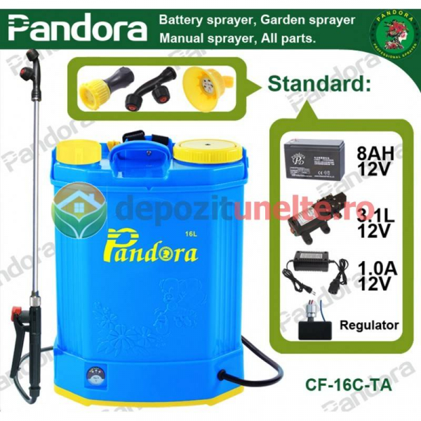 Pompa de stropit electrica cu acumulator Pandora 16L Micul fermier 2020 - Vermorel electric cu baterie 13