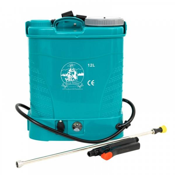 Pompa de stropit electrica Micul Fermier by Pandora 12L, Vermorel electric cu acumulator de 12V 8Ah 5,5 bar si regulator de presiune 1
