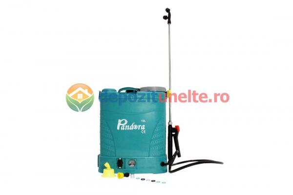 Pompa de stropit electrica PANDORA 12L, vermorel electric cu acumulator de 12V 8Ah 5,5 bar si regulator de presiune 0