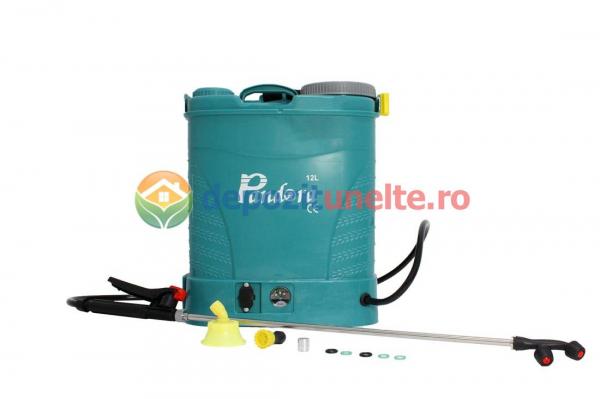 Pompa de stropit electrica PANDORA 12L, vermorel electric cu acumulator de 12V 8Ah 5,5 bar si regulator de presiune 1