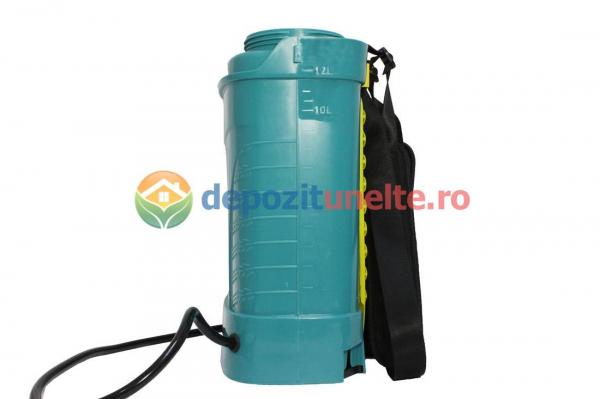 Pompa de stropit electrica PANDORA 12L, vermorel electric cu acumulator de 12V 8Ah 5,5 bar si regulator de presiune 3