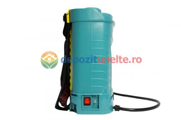 Pompa de stropit electrica PANDORA 12L, vermorel electric cu acumulator de 12V 8Ah 5,5 bar si regulator de presiune 4