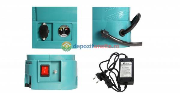Pompa de stropit electrica Micul Fermier by Pandora 12L, Vermorel electric cu acumulator de 12V 8Ah 5,5 bar si regulator de presiune 2