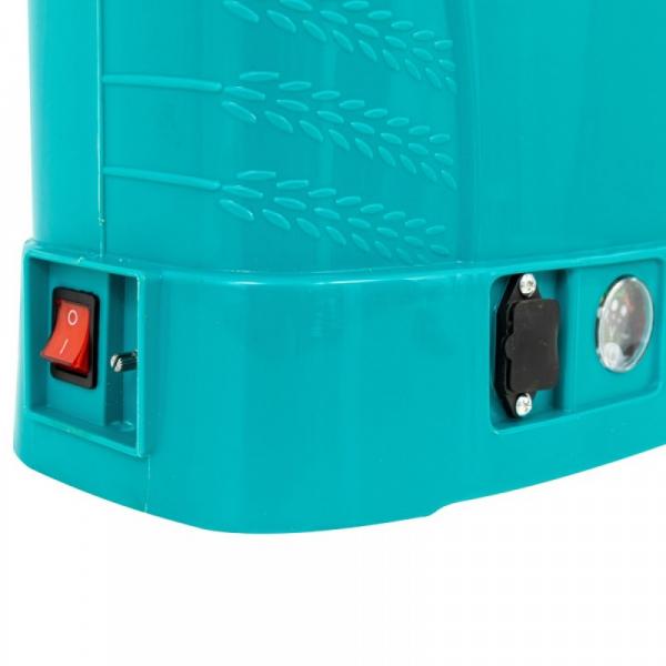 Pompa de stropit electrica Micul Fermier by Pandora 12L, Vermorel electric cu acumulator de 12V 8Ah 5,5 bar si regulator de presiune 9
