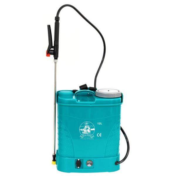 Pompa de stropit electrica Micul Fermier by Pandora 12L, Vermorel electric cu acumulator de 12V 8Ah 5,5 bar si regulator de presiune 7